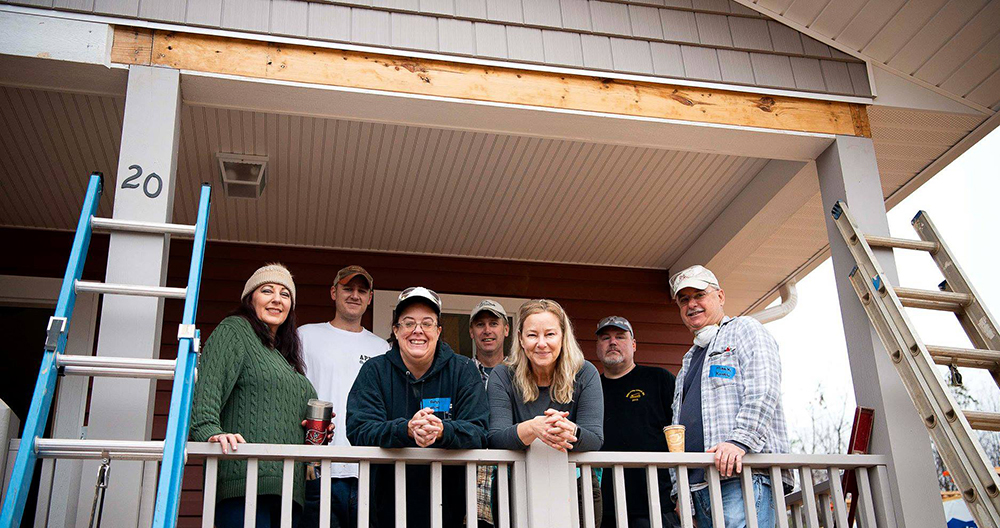 The ABE crew helps Habitat for Humanity build a home
