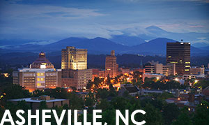 Nighttime view of Downtown Asheville, NC