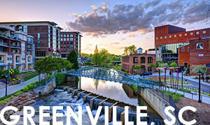 Sunrise view of Downtown Greenville, SC