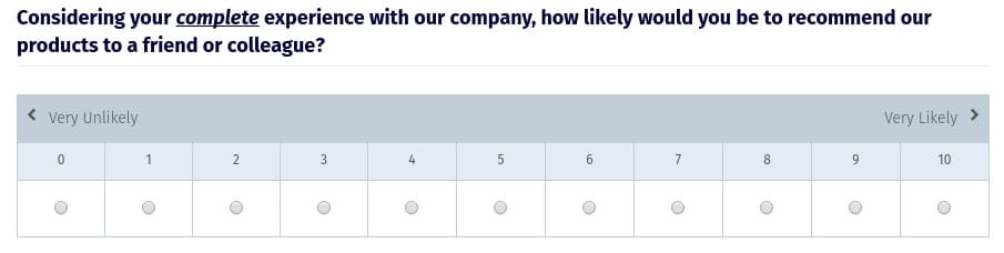 NPS promoter score graphic of question, probability of recommending a company based on a scale of 1 to 10